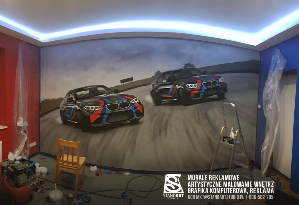 bmw samochody malowanie w pokoj syna fan motoryzacji