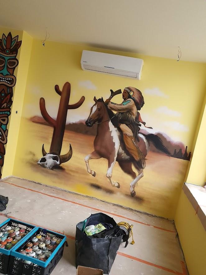 Mural dla Cochise Burger w Łodzi